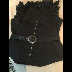 Bebe sleeveless belted top